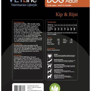 Futter von Vet-Line, Hund, Huhn und Reis, große Rassen