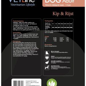 Futter von VET-Line, Hund, Adult, Huhn & Reis, kleine und mittelgroße Rassen